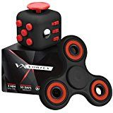 Vortex Spinners Prime Fidget Toy Set Of Upgraded Black High Speed Hand Spinner Toy And Black Soft Touch Fidget Cube In Premium Gift Box, 1-4 Min of Spin Time, Black