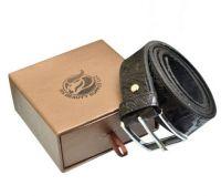 Black Leather Belt (Crocodile Design)