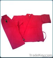 Karate Cotton Uniform White   Black   Red Color