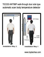 Walk-through body fever thermometer door