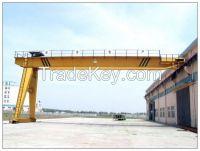 Single girder light duty semi-gantry crane with rail travelling electric hoist