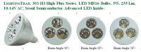 LIGHTINGTRAIL 303-H3 High Flux Series, LED MR16 Bulb, 5 W, 255 Lm, 10-