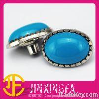 Ellipsoidal Metal Button With Blue Rhinestone