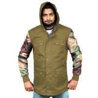 Hot Custom Heavy Windbreaker Winter Jacket with Camouflage arms, multi pocket with hood