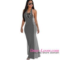 Dear-lover Nautical Stripes Beach Halter one piece girls party maxi dresses