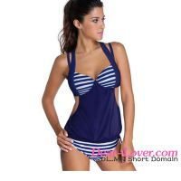 Dear-lover 2pcs Solid Navy Stripe Halter Tankini Swimsuit women sexi hot girls bikini
