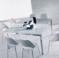 White square extending dining table by foshan weichi glass furniture