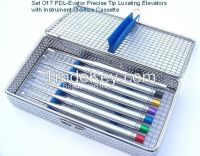 PDL Luxating Elevator 7pcs set with instrument Mesh Stainless steel cassette. Excellent quality totally made of stainless steel.