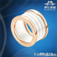 Fashion Ip Plated White Ceramic Ring