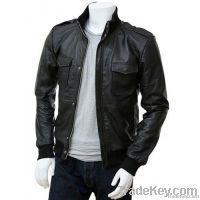 Men's Black Leather Bomber Jacket Belgrade