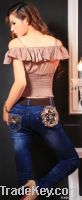 floral jeans, skinny jeans, women jeans from jeans manufacturer directly