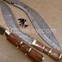 Custom Hand Made Damascus Kukri Knife| Stamina Wood|