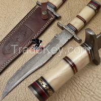 Awesome Custom Hand Forged Damascus Hunting Knife ( Camel Bone )