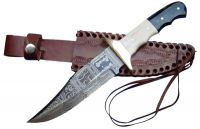 Damascus Hunting Knife With Leather Sheath Cover