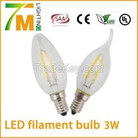 Candle light LED filament bulb 3W candle lamp 360 degree light