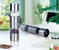 Steel salt or pepper mill