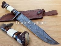 Damascus hand made hunting knife HK-01