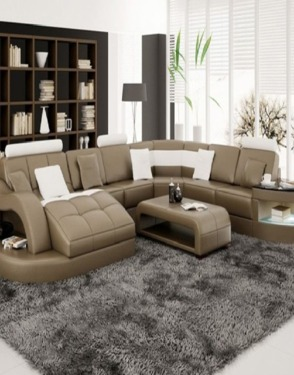 European Style Divany Leather Sofa with Wooden Frame