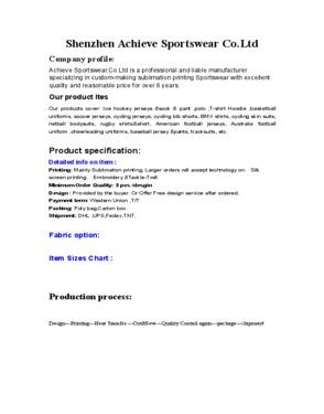 Shenzhen Achieve Sportswear Co., Ltd.