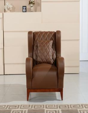 American Wooden Leg Genuine Leather Vintage Sofa