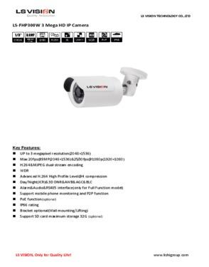 LS Vision HD 3MP Megapixel 2048*1536 IP66 P2P Waterproof Bullet CCTV Camera With POE (LS-FHP300W-P)