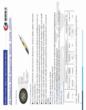 All-Dielectric Self-Supporting Optic Fiber Cable Fiber Optic Cable (ADSS cable)