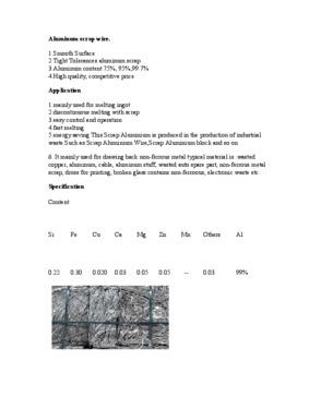 Scrap aluminium wire