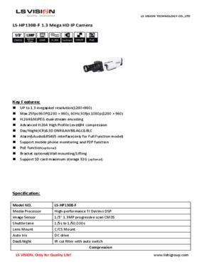 "LS Vision 1/3"" 1.3MP Scan CMOS 960P HD P2P IR Box IP Camera"