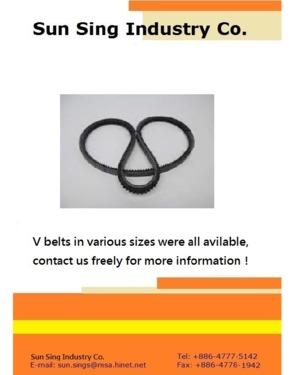 V belts, automotive v belts, agricultural v belts, rubber v belts, fan belts