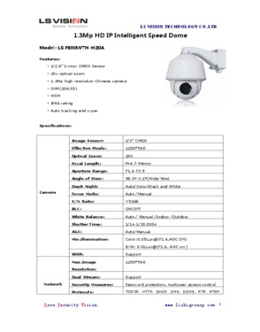LS Vision Outdoor High Speed Dome 20X Optical Zoom 1.3MP IR PTZ Network Camera