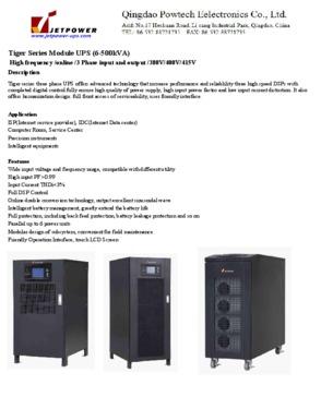380Vac/400Vac/415Vav Three Phase High Frequency Online Module UPS