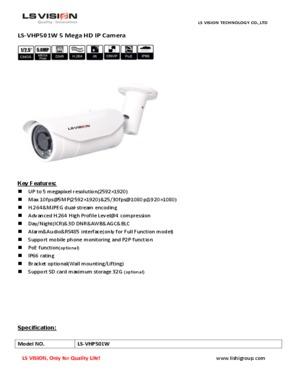LS Vision HD 5.0 Megapixel Varifocal Lens Night Vision Waterproof IP Camera Onvif (LS-VHP501W)