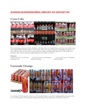 Soft & None Soft Beverages / Belgian, German, French, Holland, Italian, Mexico, Spain, Portugal, Canned/Bottle Drinks