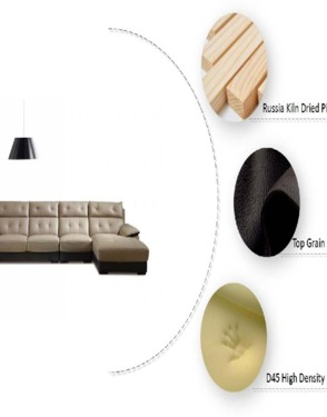Classical Living Room Leather Sectional Sofa Couches