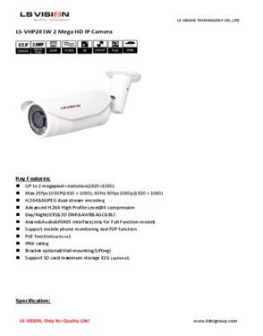 LS Vision HD 1080P 1280*1080 2MP Varifocal Lens Waterproof IR Bullet IP Camera (VHP131W)