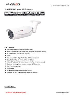 LS Vision 3.0 Megapixel Varifocal Lens WDR IR Waterproof IP Bullet Camera (LS-VHP301W)