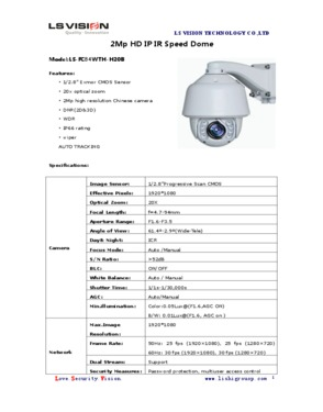 """LS Vision 5"""" High Speed Dome 2MP 20X Optical Zoom PTZ IP Camera Auto Tracking Function"""