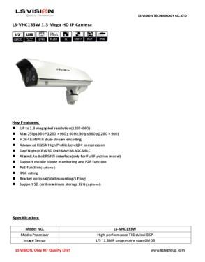 LS Vision H.264 1280*960 1.3MP Varifocal Lens 6-22mm IR Waterproof HD IP Camera (LS-VHC133W)