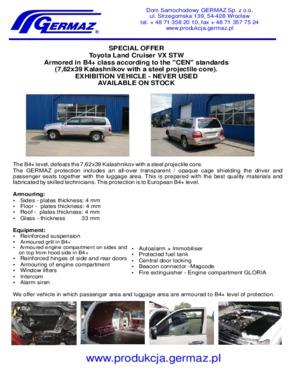 Toyota Land Cruiser VX STW, Armoured B4+