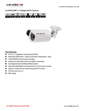 LS Vision 1280*960 1.3 Megapixel CMOS Fixed Lens IR Night Vision Waterproof Bullet POE IP Camera (LS-FHC130W-P)
