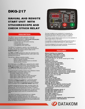 DKG 217 Manual and Remote Start Unit with Synchronoscope