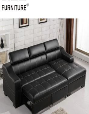 Living Room Furniture Leather Storage Sofa Cum Bed