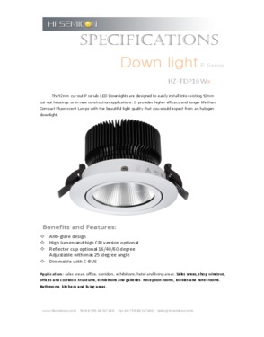 CRI95 led Downlight  16W (HZ-TDP16WI)