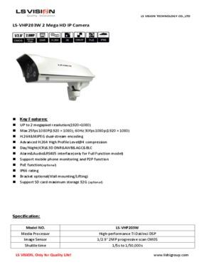 LS Vision Outdoor 1080P 2MP Megapixel Varifocal Lens IR Waterproof HD IP Camera (LS-VHC203W)