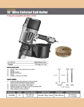 CN100M 15 Degree Wire Collated Coil Nailer
