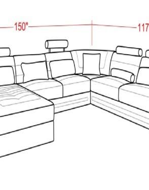 Italian Leather U Shape Sectional Sofa