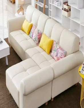 Genuine Leather Beige Nordic Style Living Room Sofa Couch