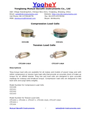Power tong  tension load cells