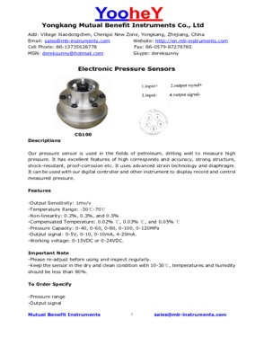 1502 Pressure Sensor for cement truck
