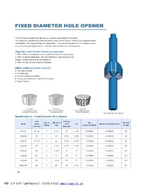 Fixed Diameter Hole Opener